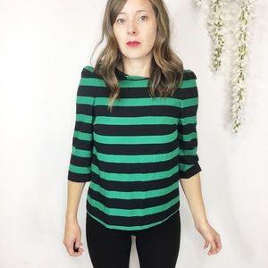 NWT ZARA striped top puff shoulders 3/4 sleeves